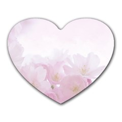 Pink Blossom Bloom Spring Romantic Heart Mousepads by BangZart