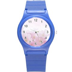Pink Blossom Bloom Spring Romantic Round Plastic Sport Watch (s)