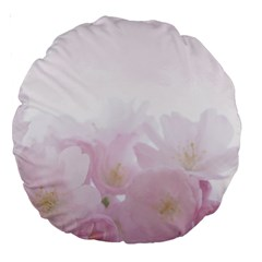 Pink Blossom Bloom Spring Romantic Large 18  Premium Round Cushions