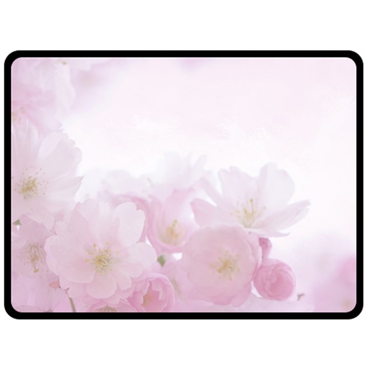 Pink Blossom Bloom Spring Romantic Double Sided Fleece Blanket (Large)