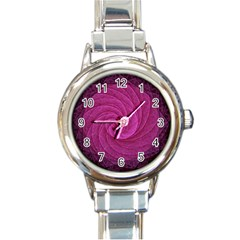 Purple Background Scrapbooking Abstract Round Italian Charm Watch by BangZart