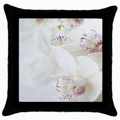 Orchids Flowers White Background Throw Pillow Case (black) by BangZart