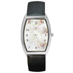 Orchids Flowers White Background Barrel Style Metal Watch by BangZart