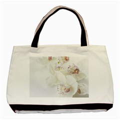 Orchids Flowers White Background Basic Tote Bag by BangZart