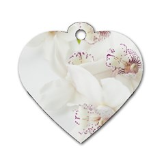 Orchids Flowers White Background Dog Tag Heart (two Sides) by BangZart