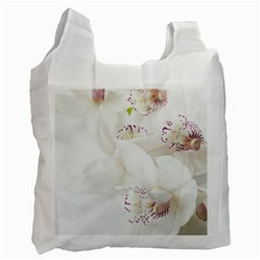 Orchids Flowers White Background Recycle Bag (two Side)  by BangZart