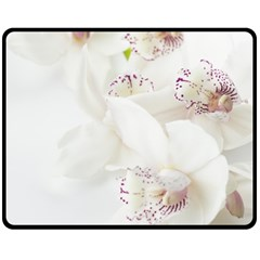 Orchids Flowers White Background Fleece Blanket (medium)  by BangZart