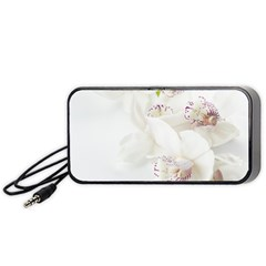 Orchids Flowers White Background Portable Speaker (black)