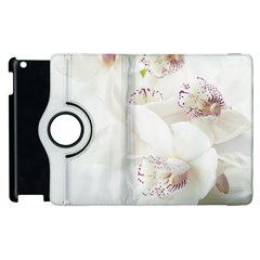 Orchids Flowers White Background Apple Ipad 2 Flip 360 Case by BangZart