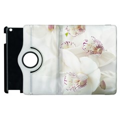 Orchids Flowers White Background Apple Ipad 3/4 Flip 360 Case by BangZart