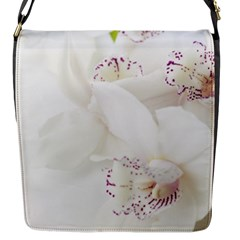 Orchids Flowers White Background Flap Messenger Bag (s) by BangZart