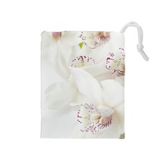 Orchids Flowers White Background Drawstring Pouches (medium)