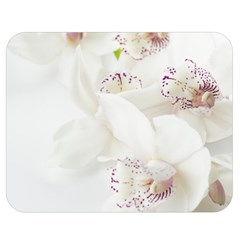 Orchids Flowers White Background Double Sided Flano Blanket (medium)  by BangZart