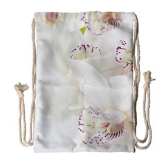 Orchids Flowers White Background Drawstring Bag (large) by BangZart