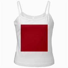 Usa Flag Red Blood Red Classic Solid Color  White Spaghetti Tank