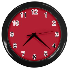 Usa Flag Red Blood Red Classic Solid Color  Wall Clocks (black) by PodArtist