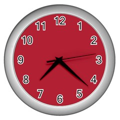 Usa Flag Red Blood Red Classic Solid Color  Wall Clocks (silver)  by PodArtist