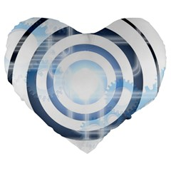 Center Centered Gears Visor Target Large 19  Premium Flano Heart Shape Cushions by BangZart