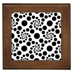 Dot Dots Round Black And White Framed Tiles by BangZart