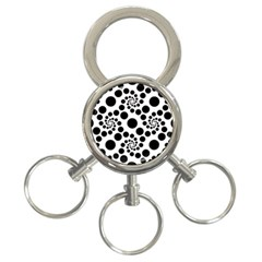 Dot Dots Round Black And White 3 Ring Key Chains by BangZart