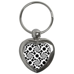 Dot Dots Round Black And White Key Chains (heart)  by BangZart
