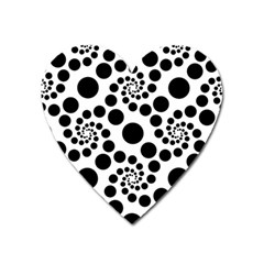 Dot Dots Round Black And White Heart Magnet by BangZart