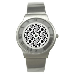 Dot Dots Round Black And White Stainless Steel Watch by BangZart