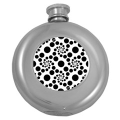Dot Dots Round Black And White Round Hip Flask (5 Oz) by BangZart