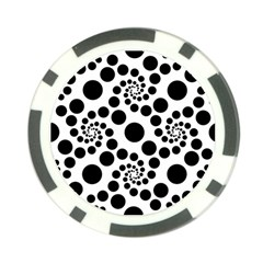 Dot Dots Round Black And White Poker Chip Card Guard (10 Pack) by BangZart