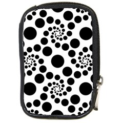 Dot Dots Round Black And White Compact Camera Cases by BangZart
