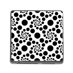 Dot Dots Round Black And White Memory Card Reader (square) by BangZart