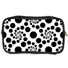 Dot Dots Round Black And White Toiletries Bags 2 Side by BangZart