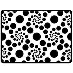 Dot Dots Round Black And White Fleece Blanket (large)  by BangZart