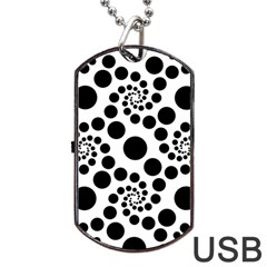 Dot Dots Round Black And White Dog Tag Usb Flash (two Sides) by BangZart