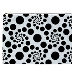 Dot Dots Round Black And White Cosmetic Bag (xxl)  by BangZart