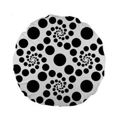 Dot Dots Round Black And White Standard 15  Premium Round Cushions