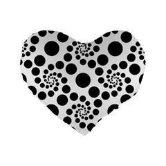Dot Dots Round Black And White Standard 16  Premium Flano Heart Shape Cushions by BangZart