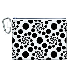 Dot Dots Round Black And White Canvas Cosmetic Bag (l) by BangZart