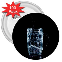 Glass Water Liquid Background 3  Buttons (100 Pack)