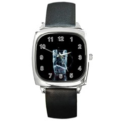 Glass Water Liquid Background Square Metal Watch by BangZart