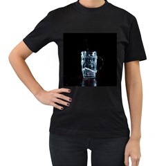 Glass Water Liquid Background Women s T Shirt (black) (two Sided)