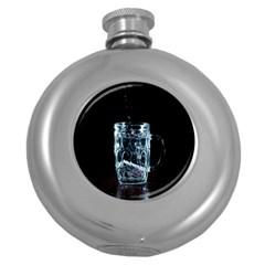 Glass Water Liquid Background Round Hip Flask (5 Oz) by BangZart