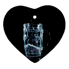 Glass Water Liquid Background Heart Ornament (two Sides) by BangZart