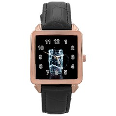 Glass Water Liquid Background Rose Gold Leather Watch  by BangZart