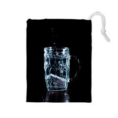 Glass Water Liquid Background Drawstring Pouches (large)  by BangZart