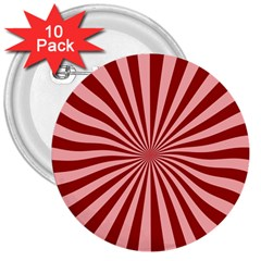 Sun Background Optics Channel Red 3  Buttons (10 Pack)  by BangZart