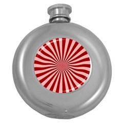 Sun Background Optics Channel Red Round Hip Flask (5 Oz)