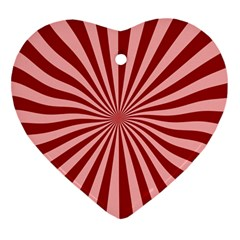 Sun Background Optics Channel Red Heart Ornament (two Sides)