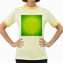 Radial Green Crystals Crystallize Women s Fitted Ringer T Shirts