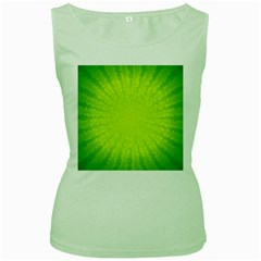 Radial Green Crystals Crystallize Women s Green Tank Top